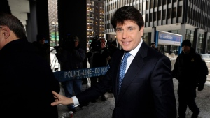 In this Feb. 10, 2010, file photo, former Illinois Gov. Rod Blagojevich arrives at the Federal Court building in Chicago. Blagojevich was formally indicted on corruption charges, including allegations that he tried to sell or trade President Barack Obama's old Senate seat. (AP Photo/Paul Beaty, File