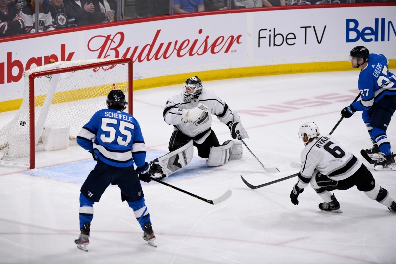 Winnipeg Jets' Nikolaj Ehlers (27) scores on Los Angeles Kings goaltender Calvin Petersen (40) during third period NHL action in Winnipeg on Tuesday, Feb. 18, 2020. THE CANADIAN PRESS/Fred Greenslade