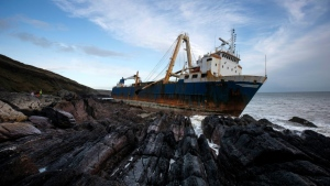 The abandoned 77-metre (250-feet) cargo ship MV Alta washed up outside Ballycotton village. AFP.