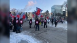 Protesters outside of the Manitoba Legislative Building. (Source: Alex Brown/CTV News Winnipeg)