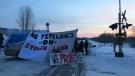 Rail blockade near Acheson, Feb. 19