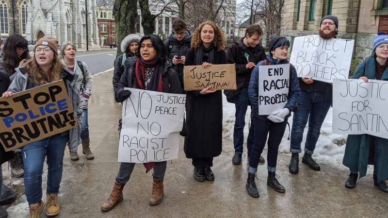 Dozens of protesters gather at Halifax provincial court on Feb. 19, 2020, to show their support for Santina Rao, who is facing charges in connection with an incident at a local Walmart on Jan. 15, 2020.