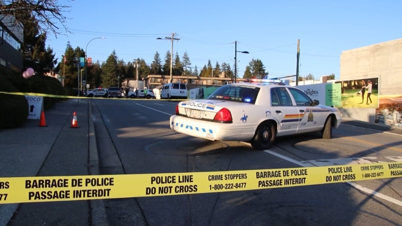 Police closed off an intersection in Coquitlam after a senior pedestrian was hit by a vehicle on Feb. 18, 2020.