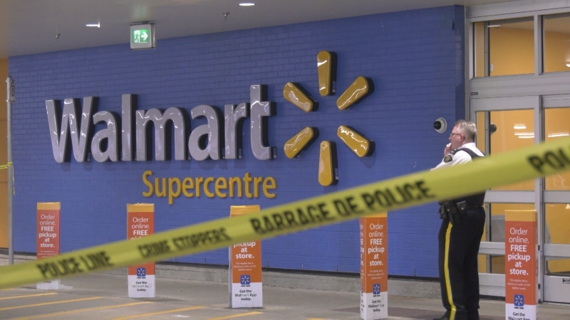 Shoppers at a Richmond Walmart got a surprise when RCMP ran in with guns drawn. A man armed with a weapon had barricaded himself inside.