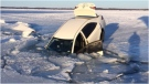 A pair of Toronto residents escaped after their car plunged through the ice on Lake Simcoe Monday afternoon. (South Simcoe Police Service)