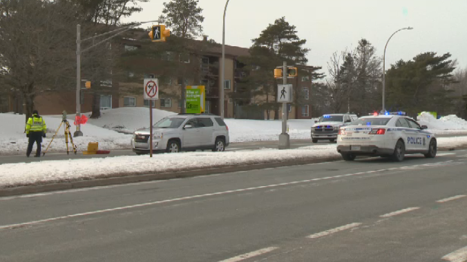 Halifax Regional Police respond to a pedestrian collision in Clayton Park on Feb. 18, 2020. The pedestrian died from her injuries.