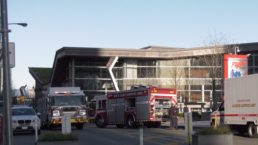 Emergency crews respond to a fire in the food court near Canada Place in downtown Vancouver on Feb. 19, 2020.
