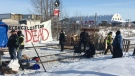 A CN Rail blockade was set up near Acheson, west of Edmonton, on Feb. 19, 2020, in opposition of the Coast GasLink project.