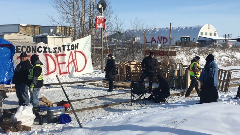 Rail blockade near Acheson, Feb. 19