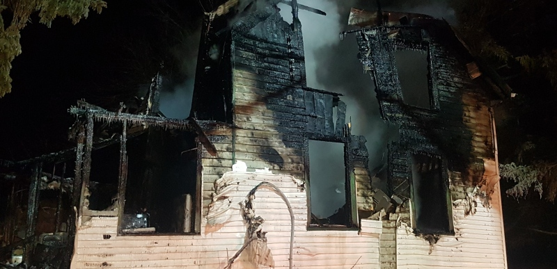 Fire officials say multiple people entered a burning home near Rostock