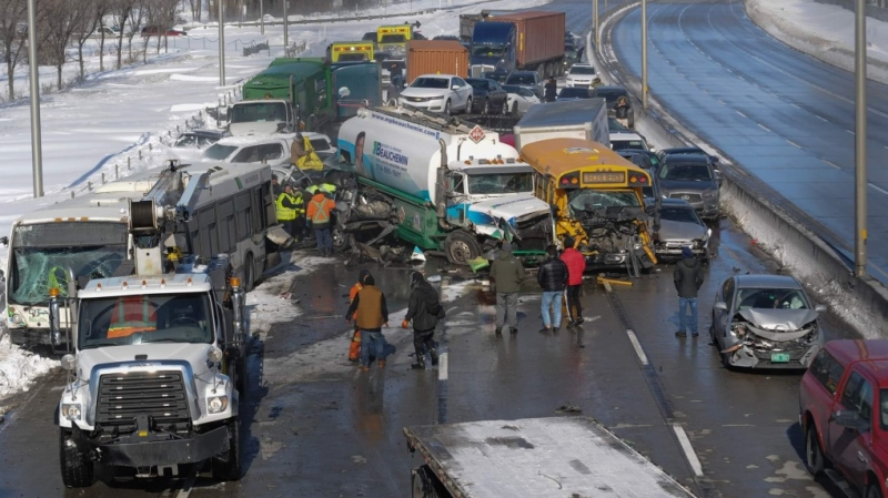 Damaged vehicles are shown following a massive pileup south of Montreal. (CTV Montreal)