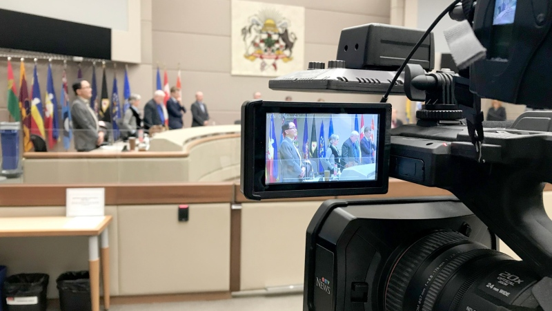 Members of Calgary's city council met for only a few minutes during a special meeting Wednesday before going behind closed doors.