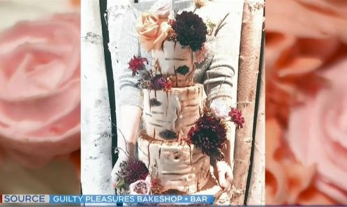 Guilty Pleasures Bakeshop wedding cake. (Supplied)