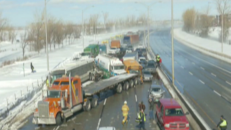 Massive pileup south of Montreal, dozens injured