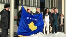 People gathered at Winnipeg City Hall to commemorate the anniversary of Kosovo's independence. (Jon Hendricks/CTV News)