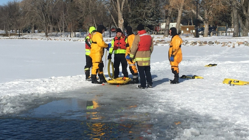 Members of the Lethbridge Fire Department took part in ice rescue training at Henderson Lake.