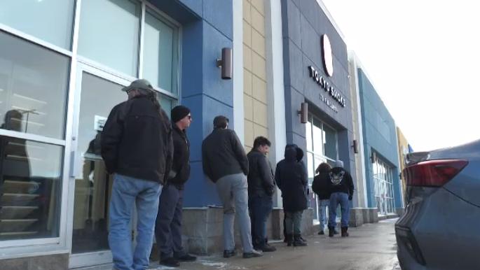 Customers were lining up outside Cambridge's new Tokyo Smoke location on opening day. (Feb. 19, 2020)