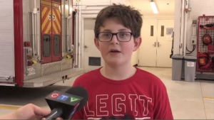 On Wednesday, Sam McKay got the VIP treatment at a Fredericton fire station. He was awarded a certificate of recognition for his courage and quick thinking and had a pizza lunch with the firefighters who responded to his house that night.