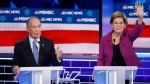 Democratic presidential candidates, former New York City Mayor Mike Bloomberg, left, speaks as Sen. Elizabeth Warren, D-Mass., gestures during a Democratic presidential primary debate Wednesday, Feb. 19, 2020, in Las Vegas, hosted by NBC News and MSNBC. (AP Photo/John Locher)