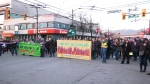 Hundreds of people gathered at the intersection of Commercial Drive and Broadway at 5 p.m. Wednesday to express opposition to the Coastal GasLink and Trans Mountain pipeline projects in B.C. (CTV)