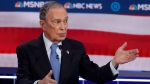 Democratic presidential candidates, former New York City Mayor Mike Bloomberg speaks during a Democratic presidential primary debate Wednesday, Feb. 19, 2020, in Las Vegas, hosted by NBC News and MSNBC. (AP / John Locher)