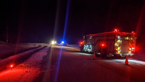 Emergency crews on scene of an incident north of Hythe, Alta. on Feb. 19, 2020. (Source: Hythe Fire Department)
