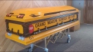 Glen Davis, a Minnesota school bus driver, ferried kids to and from school for 55 years before his death. His casket is an homage to his best-loved job. (Hindt Funeral Home/CNN)
