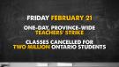 Teacher strike on Friday, February 21
