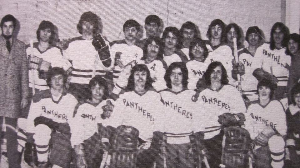Hockey team from MacDonald-Cartier yearbook (supplied)