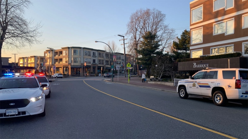 Police cruisers are parked on Pacific Avenue in this photo posted to Twitter by the White Rock RCMP.