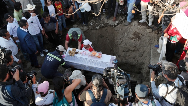 Family members bury 7-year-old murder victim Fatima in Mexico City, Tuesday, Feb. 18, 2020. (AP Photo/Marco Ugarte)