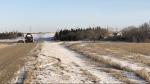 Saskatchewan RCMP remain on scene after arresting an armed man east of Regina. (Jaden Lee Lincoln, CTV News Regina)