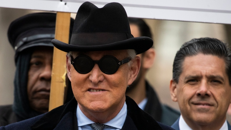 Roger Stone arrives at federal court in Washington, Thursday, Feb. 20, 2020.  (AP Photo/Manuel Balce Ceneta)