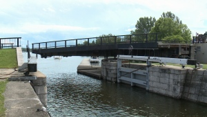 The popular Hog's Back Swing Bridge spans the Rideau Canal and connects traffic along Hog's Back Rd. between Colonel By Drive and Prince of Wales Drive.