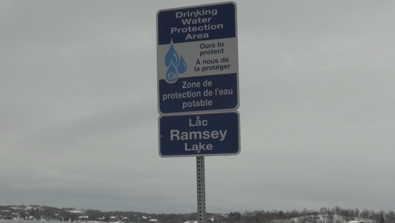Drinking Water Protection Area sign on Ramsey Lake in Sudbury. Feb. 20/20 (Lyndsay Aelick/CTV Northern Ontario)
