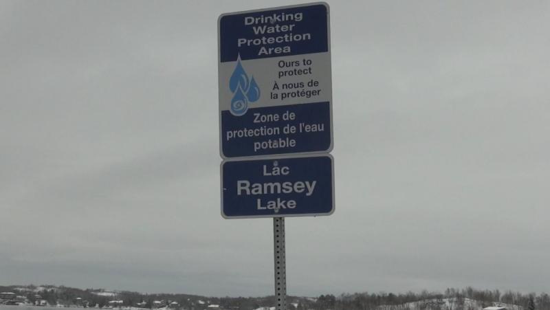 Drinking Water Protection Area sign on Ramsey Lake in Sudbury. Feb. 20/20 (Lyndsay Aelick/CTV Northern Ontario)
