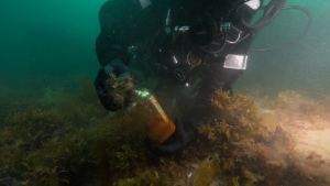 Parks Canada diver Brandy Lockhart picks up a decanter bottle recovered from the HMS Erebus during a dive in August of 2019 in this handout photo.THE CANADIAN PRESS/HO, Charles Dagneau, Parks Canada