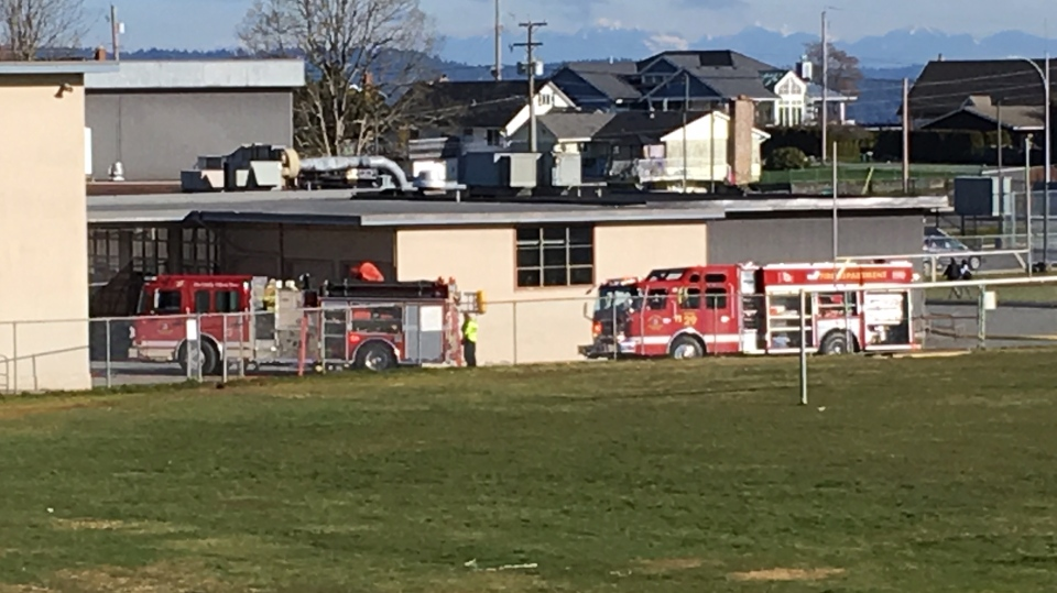 Last Thursday, students fled Chemainus Secondary after a fire broke out in a second-storey bathroom. (CTV News)