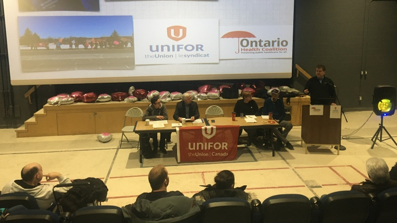 Unifor 'PSW crisis tour' news conference in Sudbury Feb. 20/20 (Alana Everson/CTV Northern Ontario)