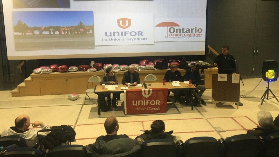 Unifor PSW crisis tour news conference