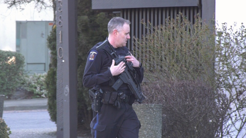 Saanich officers responded to the scene and contained the area to search for the suspect. Officers were unable to find the man. (CTV News)