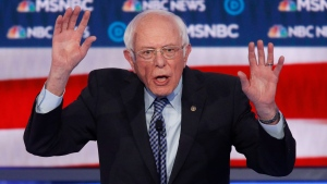 Democratic presidential candidate, Sen. Bernie Sanders, I-Vt., speaks during a Democratic presidential primary debate Wednesday, Feb. 19, 2020, in Las Vegas, hosted by NBC News and MSNBC. (AP Photo/John Locher)