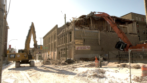 Crews have begun demolishing a historic building in the Exchange District. (source: Glenn Pismenny/ CTV News Winnipeg)
