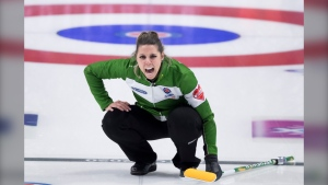Team Saskatchewan skip, Robyn Silvernagle calls a shot during draw 14 against team Northern Ontario at the Scotties Tournament of Hearts in Moose Jaw, Sask., Wednesday, February 19, 2020. THE CANADIAN PRESS/Jonathan Hayward