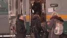 Passengers board Via Rail Train in London (February 20, 2018/Gerry Dewan CTV News)