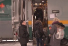 Passengers board a Via Rail train in London (Feb 20/20 - Gerry Dewan CTV London)