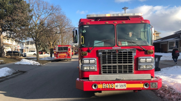 Toronto Fire Services responds to reports of toxic gas levels in Rexdale on Feb. 20, 2020. (Beth Macdonell/CTV News Toronto)