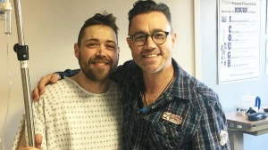 Kidney recipient Stephen Gillis, left, poses with donor Michael Teigen in a photo posted on Instagram.