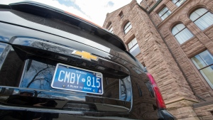 One of Ontario Premier Doug Ford's vehicles sits parked at the Ontario Legislature sporting a new licence plate in Toronto on Thursday February 20, 2020. THE CANADIAN PRESS/Frank Gunn