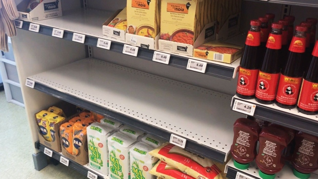 Rail shutdown restricts supply lines to Maritimes, creating some empty shelves